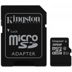 Kingston 32GB microSDHC - Clasa 10, UHS-I, 45MB/s Citire, Card + Adaptor SD