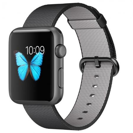 Apple Watch Sport - Smartwatch, 42mm, Carcasa din Aluminiu Space Grey, Curea Woven Nylon Neagra
