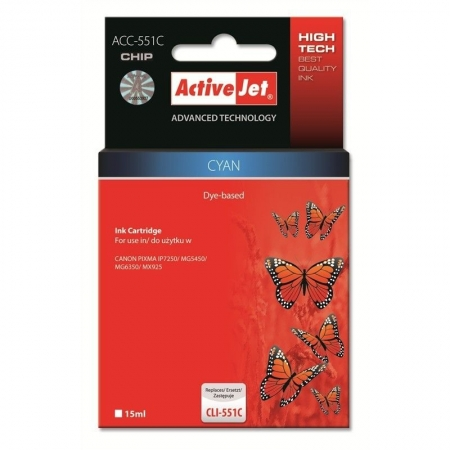 ActiveJet replace Canon CLI-551C Cyan (15ml ) - Pixma IP7250