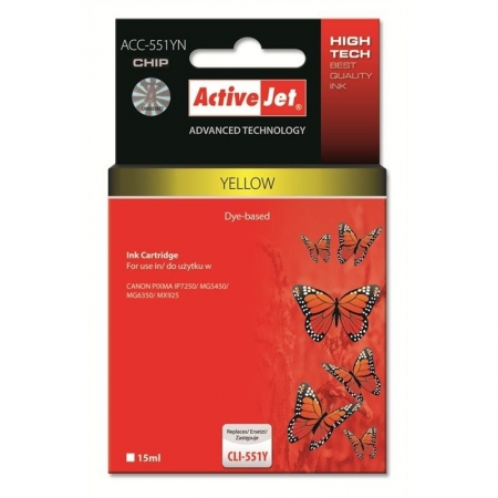 ActiveJet replace Canon CLI-551Y yellow (15ml ) - Pixma IP7250