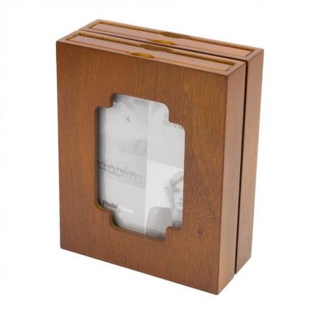 Album dublu din lemn, tip rama foto, 10x15, 48 fotografii