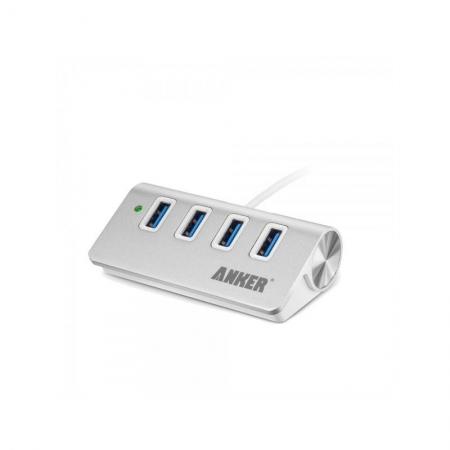 Anker - Hub, USB 3.0, 4 x USB, Aluminiu, Argintiu