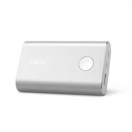 Anker PowerCore+ Qualcomm Quick Charge 2.0 - Acumulator extern premium 10050 mAh, argintiu