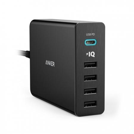Anker PowerPort+ 5 - Incarcator de retea premium, 60W, 1xUSB-C, 4xUSB 3.0, cu Power Delivery si PowerIQ, Negru