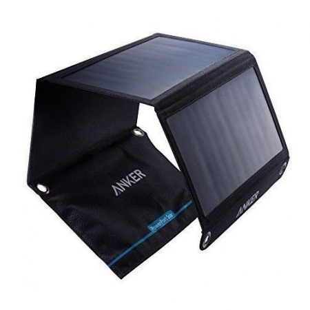 Anker PowerPort Dual - Incarcator solar pliabil, 21W, Negru