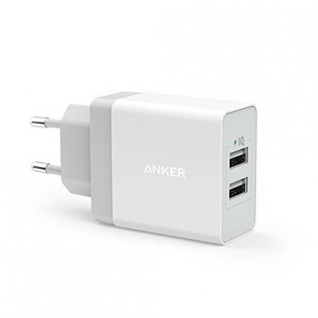 Anker PowerPort - Incarcator de retea, 24W, 2 porturi USB, PowerIQ, Alb + Cablu microUSB, 1m
