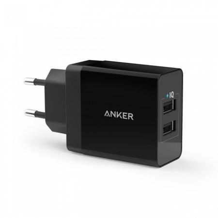 Anker PowerPort - Incarcator de retea, 24W, 2 porturi USB, PowerIQ, Negru + Cablu microUSB, 1m