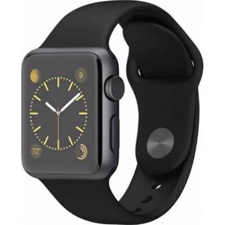 Apple Sport Watch 38 mm Carcasa Aluminiu Neagra Si Curea Sport Negra