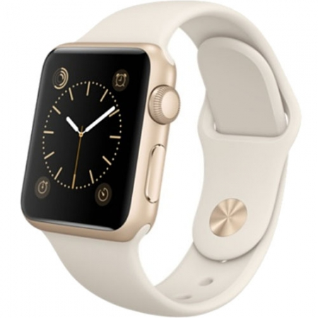 Apple Watch - 38mm, Carcasa din Aluminiu Auriu si Curea Sport Antique Alba