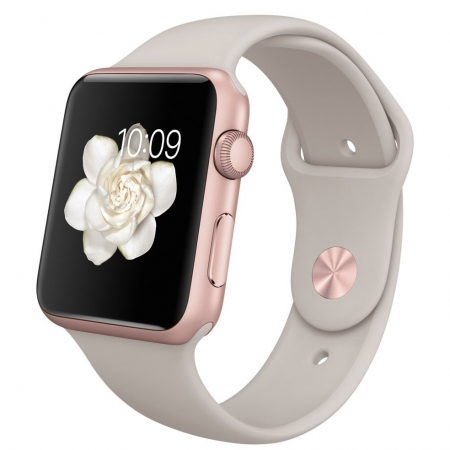 Apple Watch Sport 42mm - Carcasa Aluminiu Rose Gold, Curea Stone