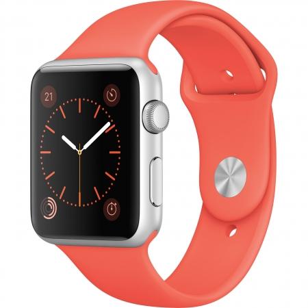Apple Watch Sport 42mm - Carcasa Aluminiu Argintie, Curea Apricot