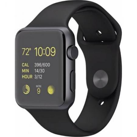 Apple Watch Sport 42mm - carcasa aluminiu neagra curea sport neagra MJ3T2LL