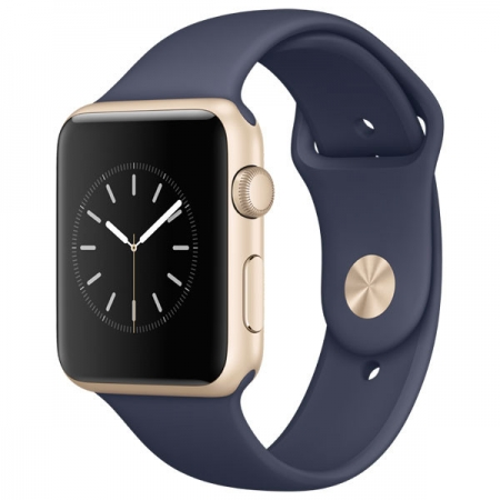 Apple Watch Sport - Smartwatch, 42mm, Carcasa din Aluminiu Aurie, Curea Sport Midnight Blue