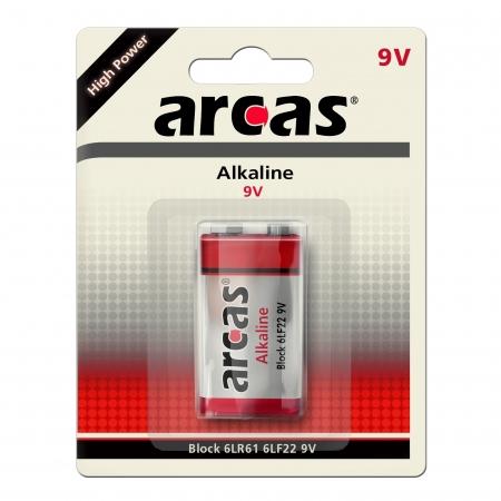 Arcas - Baterie alcalina, high power, 9V