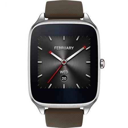 Asus ZenWatch 2 - Smartwatch 49MM Argintiu si Curea Silicon Maro