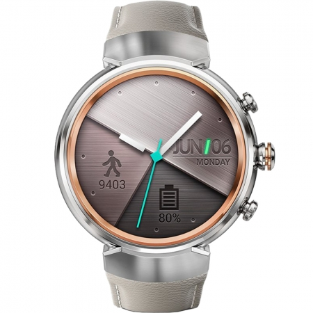 Asus ZenWatch 3 - Smartwatch, Otel inoxidabil, Curea din piele, Bej