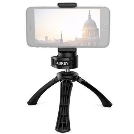 Aukey CP-T01 - Mini-trepied pentru smartphone, DSLR, camere de actiune, rotire 360 grade, Negru