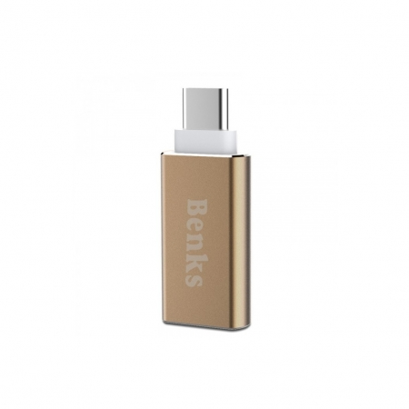 Benks Adaptor USB-C USB 3.0 auriu
