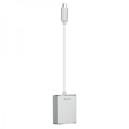 Benks - Adaptor USB-C la VGA, Argintiu