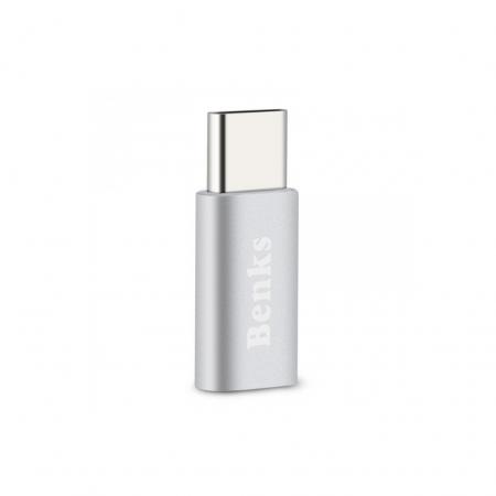 Benks Adaptor microUSB USB-C - Argintiu