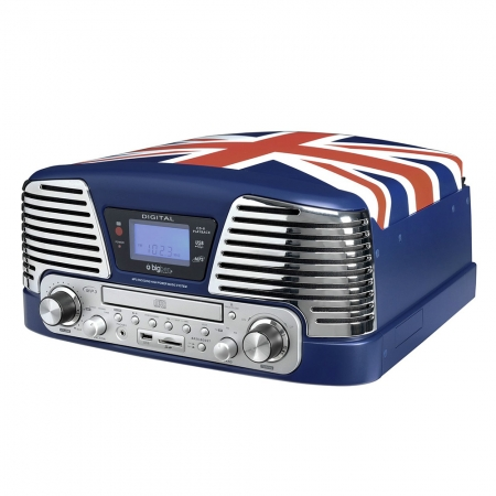BigBen Blue Turntable - Pickup, radio, CD/MP3 player