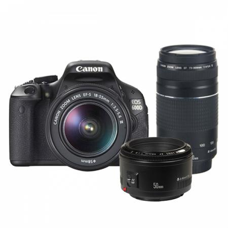 Canon EOS 600D triplu kit 1855 DC III + 75-300 DC + EF50mm f/1.8