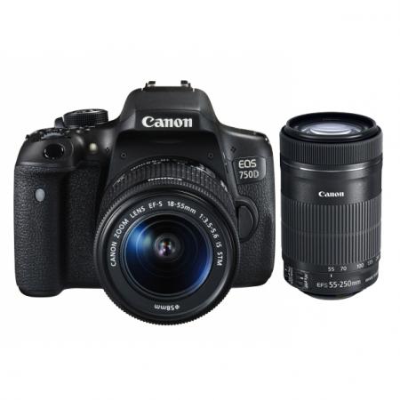 Canon EOS 750D dublu kit EF-S 18-55mm f/3.5-5.6 IS STM+ EF 55-250 IS STM