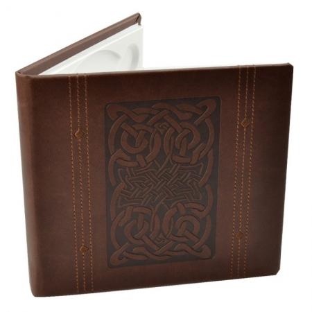 Carcasa 1 CD DVD, Piele eco, Model Celtic - Maro