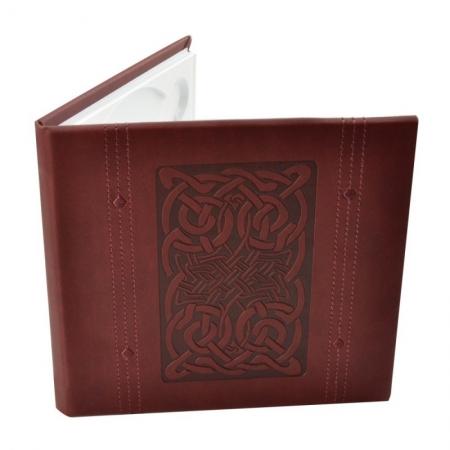 Carcasa 1 CD DVD, Piele eco, Model Celtic - Visiniu