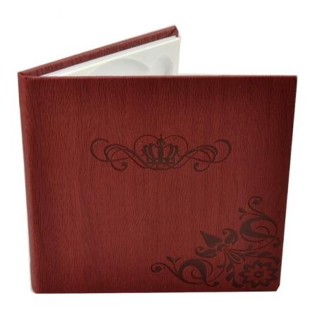 Carcasa 1 CD DVD, Piele eco, Model Coroana - Visiniu