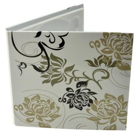 Carcasa 1 CD DVD, Piele eco, Model Floral - Alb