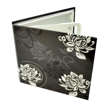 Carcasa 4 CD DVD, Piele eco, Model Floral - Negru