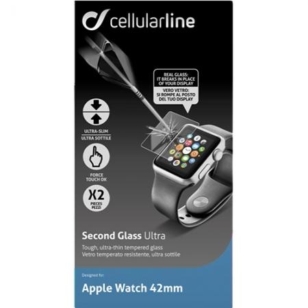 Cellular Line - Folie de protectie sticla securizata pentru Apple Watch 42mm - 2 bucati