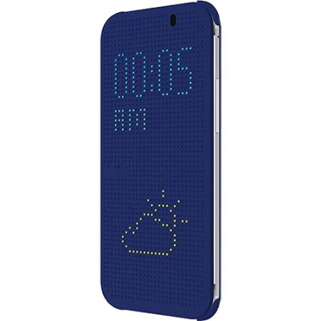 Cronos Husa Dot View pentru HTC One M8 - Albastru
