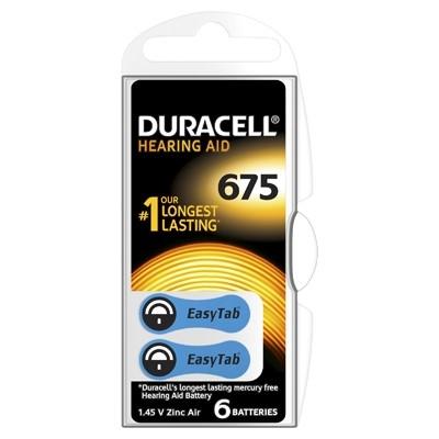 Duracell Hearing Aid - Baterie pentru Aparat Auditiv, ZA 675, 6 buc.