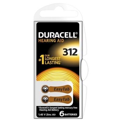 Duracell Hearing Aid - Baterie pentru Aparat Auditiv, ZA 312, 6 buc.