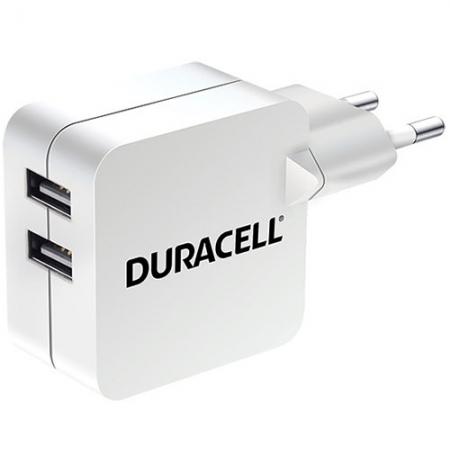 Duracell Incarcator Priza Cu Doua Porturi USB 2.4A - alb
