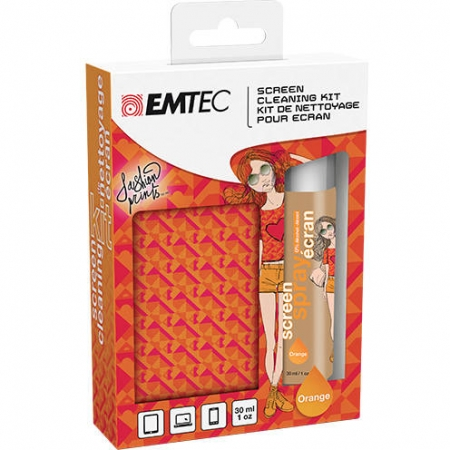 EMTEC Kit spray curatat ecranul + microfibra fashion print orange