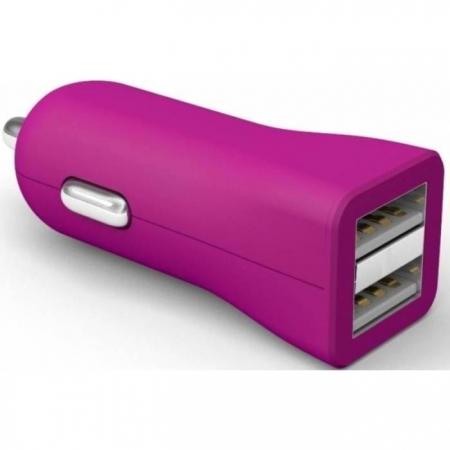 Kit Fresh - Incarcator auto universal, 2x USB, 3400 mAh (1A + 2.4A), fara cablu incarcare, Roz