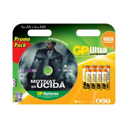 GP set 8 baterii ultra alcaline tip R3 si R6 + DVD