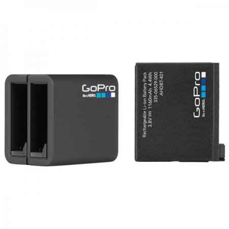 GoPro Dual Battery Charger + Battery - Incarcator si Acumulator pentru Hero4