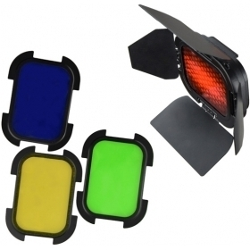 Godox - Kit honeycomb + 4 filtre (rosu, galben, albastru, verde) pentru AD200