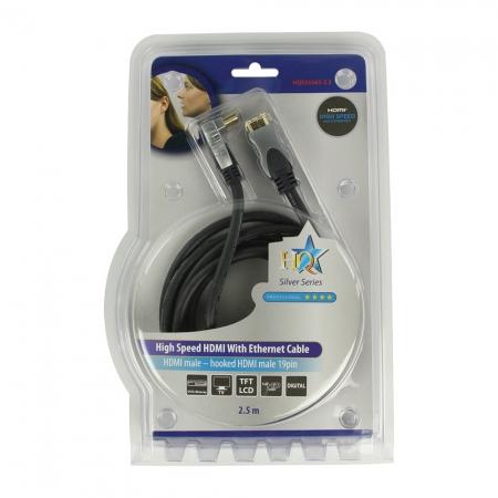 HQ HQSS5563-2.5 - cablu HDMI mare-mare, 2.5m, mufa 90 grade