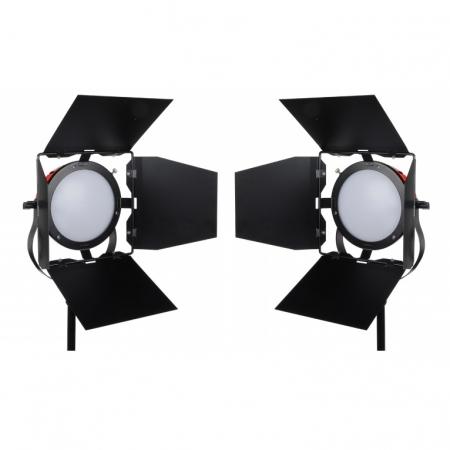 Hakutatz VL-110BK - Kit 2 lampi LED cu voleti si 2 stative 2m