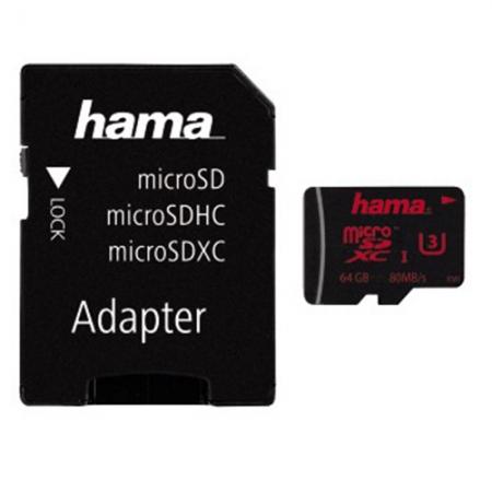 Hama MicroSDHC 64GB U3 UHS-I +A/M - RS125019299