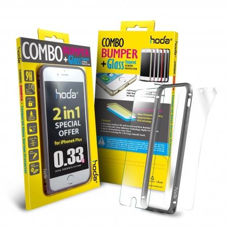 Hoda - Bumper metalic gri + folie sticla fata + folie spate iPhone 6 Plus