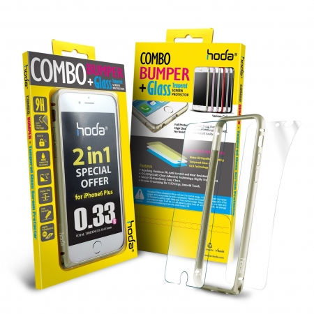 Hoda - Bumper metalic auriu + folie sticla fata + folie spate iPhone 6 Plus