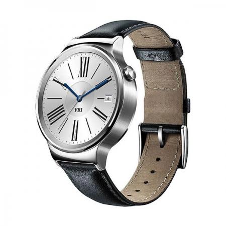Huawei Smartwatch 42mm - carcasa din otel inoxidabil si curea din piele neagra