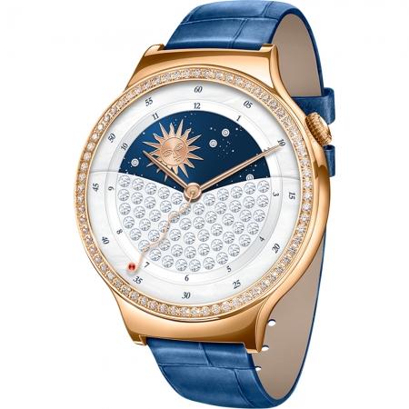 Huawei - Smartwatch Otel Inoxidabil Roz si Curea Piele Albastra, cu cristale Swarovski