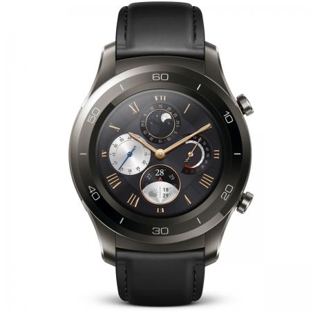 Huawei Watch 2 - Smartwatch cu Bluetooth, Bratara neagra piele, Carcasa Gri